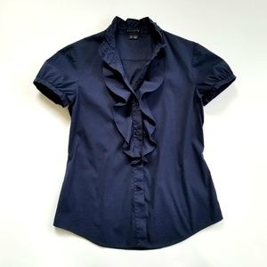 Theory navy stretch cotton button down shirt
